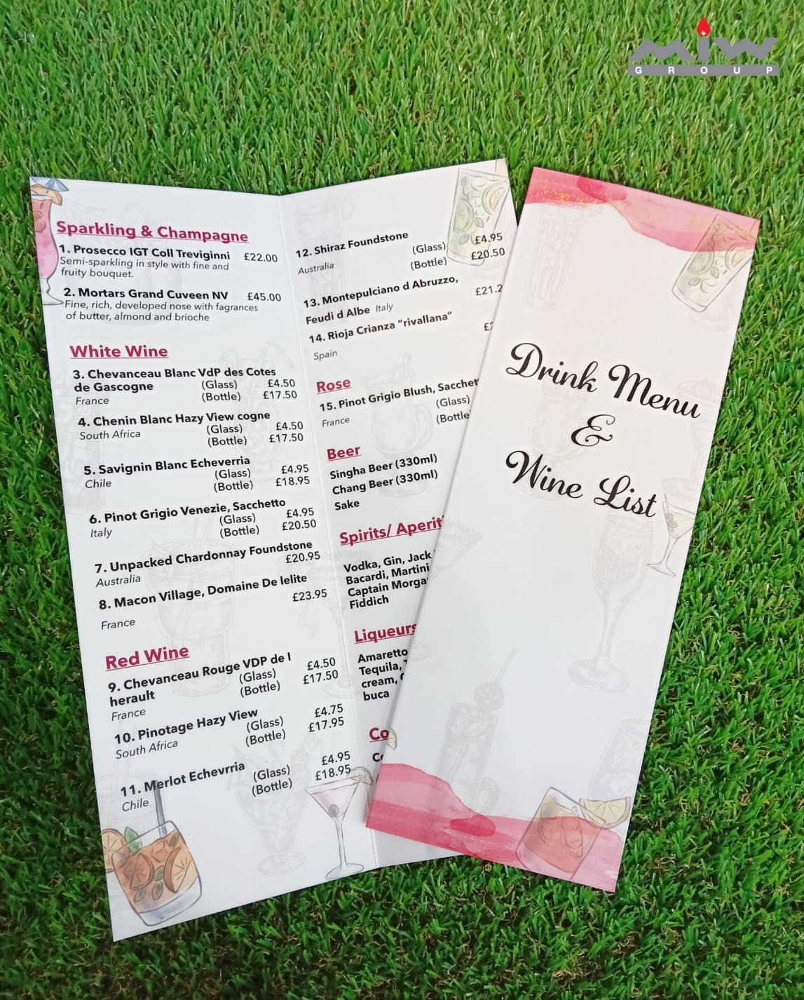 21.11 - งานเมนูอาหารร้าน Blue Moon เมนู Drink Menu & Wine List